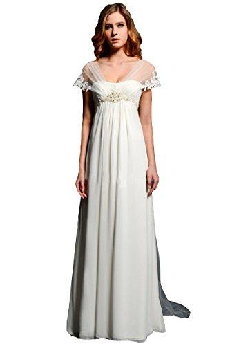 - NINI.LADY Women's V Back Empire Waist Beading Applique Chiffon Wedding Dress Ivory US16