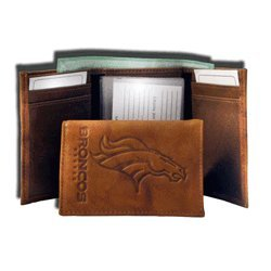 Broncos Brown Leather - NFL Denver Broncos Embossed Leather Trifold Wallet, 5