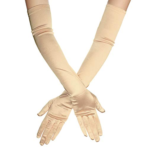 "1920s Opera Satin Long Gloves 19.5"" Elbow Length,12BL (OneSize, A-19.5"" Satin(Beige))"