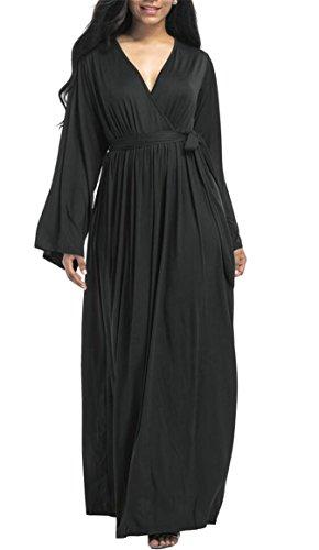 A Line Neck Sleeve Wrap V Womens With Dress Color Jaycargogo Maxi Long Black Solid Belt wq0Yz8A