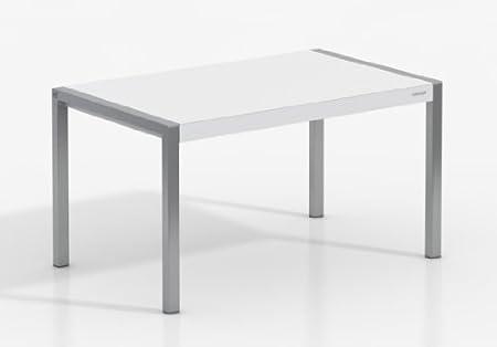 Mesa Extensible Concept - Encimera Porcelanico Artic/Patas Aluminio, 120X80 cms: Amazon.es: Hogar