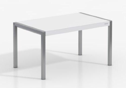 Mesa Extensible Concept - Encimera Porcelanico Artic/Patas Aluminio, 120X80 cms