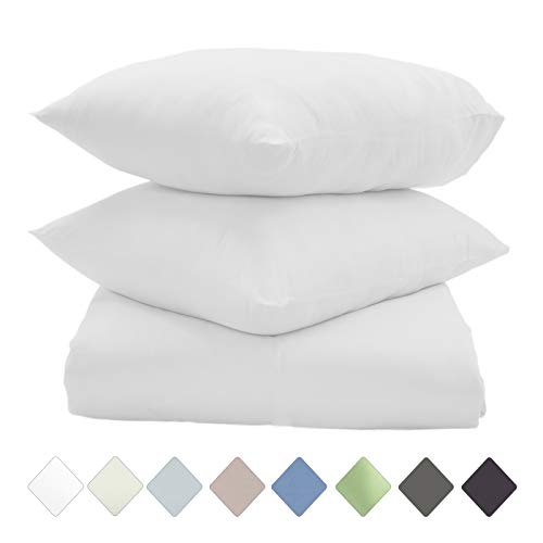 (400 Thread Count 100% Pure Cotton Soft Sateen Duvet Set, Hotel Collection, Luxury Bedding, Twin Size Duvet Set, Breathable & Cooling Sheets, Wrinkle Free, 2-Pc Set, Twin - White )