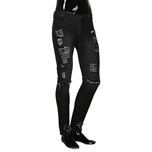 Uomo Bobo Nero 88 Unita Pantaloni Especial Estilo Zipper Slim Per Wear E Jeans Tinta Da Cher Distintivi Skinny wrtqdTt