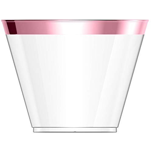 100 Pink Plastic Cups 9 Oz Pink Rimmed Tumblers Clear Plastic Cups Disposable Cups for Wedding Party