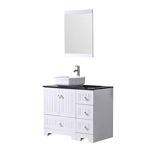Sliverylake 36 Bathroom Vanity Ceramic Vessel Sink Combo PVC Cover Cabinet Countertop Sink Bowl w Mirror Set White Square