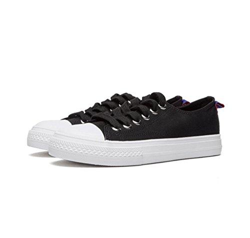 Beiläufige Segeltuch-Schuh-Damen-flache Schuhe Breathable niedrige Schuhe Art und Weise einfache Schuhe bequeme Skateboard-Schuhe ( Farbe : Weiß , größe : 35 ) Schwarz