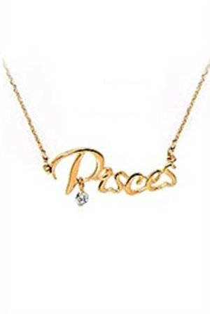 Kathy Mall Mystical Horoscope Zodiac Word Pendant Necklace Horoscope Zodiac Nameplate Necklace (Pisces)