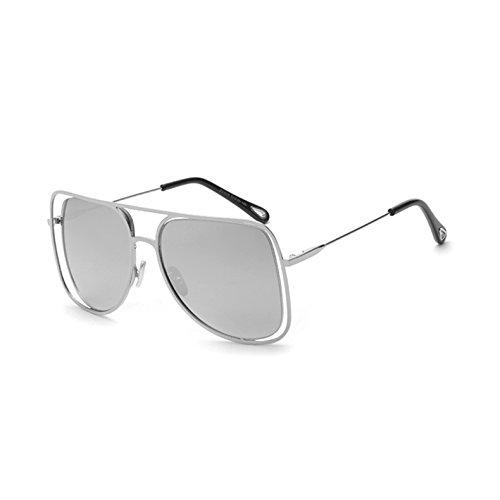 sol sol de señoras Gafas G hueco mujer TL gafas Cuadro cuadradas de UV443 C4 Mirror tonos C4 enormes Sunglasses salida Silver unas gafas espejo de plata de xO6zq7Owa