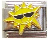 (Clearly Charming Sun with Glasses Italian Charm Bracelet Link)
