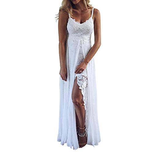 Bokeley Womens Sling V-Neck Long Dress,Ladies Sexy Lace Splitting Irregular Sundress Beach Party Wedding Dress (M, White)