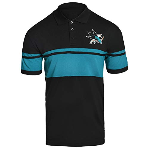 FOCO NHL SAN Jose Sharks Cotton Stripe Polo - Mens Double Extra Large ()
