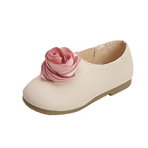 - FIged Baby Kids Girls Big Flower Ornament Shoes Mary Jane Flat Leather Slip-On White