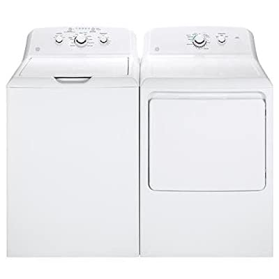 "GE White Laundry Pair with GTW330ASKWW 27"" Top Load Washer and GTD33EASKWW 27"" Front Load Electric Dryer"
