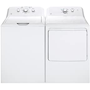 GE White Laundry Pair with GTW330ASKWW 27' Top Load Washer and GTD33GASKWW 27' Front Load Gas Dryer