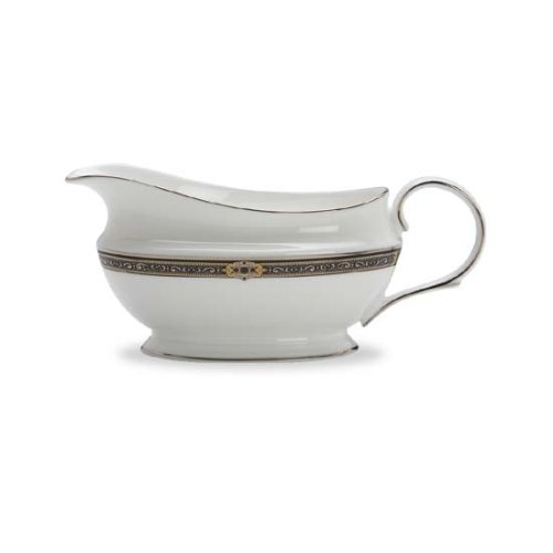 Lenox Vintage Jewel Platinum Banded Bone China Sauce Boat