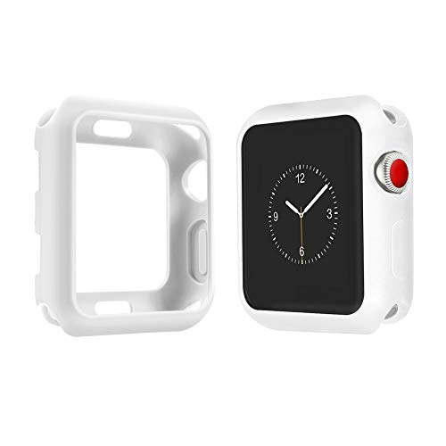 - top4cus Environmental Soft Flexible TPU Anti-Scratch Lightweight Protective 42mm Iwatch Case Compatible Apple Watch Series 4 Series 3 Series 2 Series 1 Matte Style - Matte White