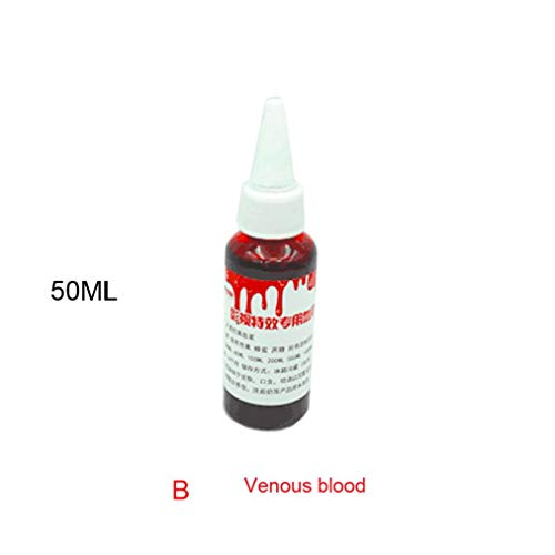 HighlifeS Ultra-Realistic Fake Blood Edible Fake Blood- 30ml, 50ML, 100ML - Halloween Costume and Dress up Makeup (Deep Red, 50ML) ()