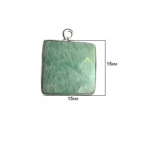 - 2 Pcs Amazonite Square Beads 15mm silver by BESTINBEADS, Amazonite Hydro Quartz Square Pendant Bezel Gemstone Connectors over 925 sterling silver bezel jewelry making supplies