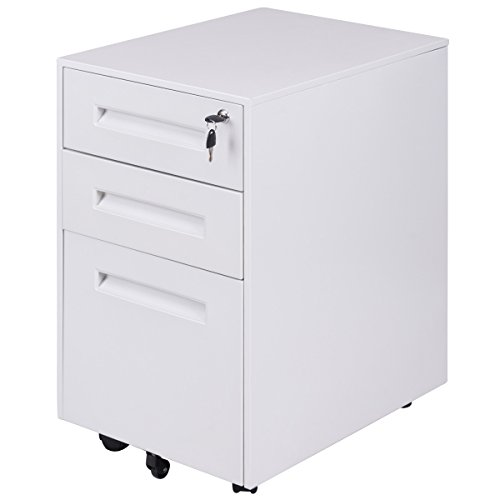 Giantex 3-Drawer Mobile File Cabinet with Lock Key Sliding Drawer for 5 Rolling Casters Metal Storage, A4 File Storage (White)