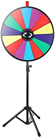 """WinSpin 24"""" Color Prize Wheel Fortune w Folding Tripod Floor Stand Carnival Spinnig"""
