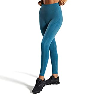 Aoxjox Womens High Waisted Workout Gym Geo Seamless Leggings Yoga Pants (Teal Tones, Small)