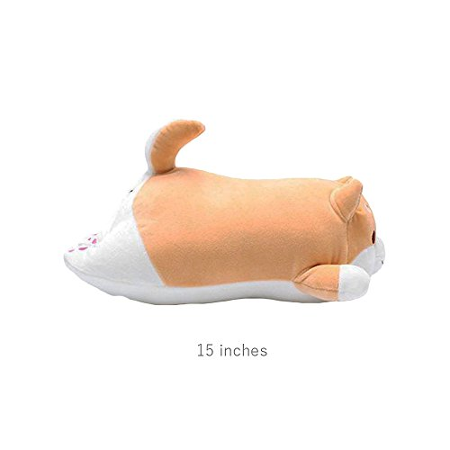 Shiba Inu Dog Plush Pillow, Cute Corgi Akita Stuffed Animals Doll Toy Gifts for Valentine's Gift, Christmas,Sofa Chair, Brown Round Eye, 15'' by Levenkeness (Image #2)