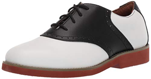 School Issue Upper Class (Adult), White/Black Leather, 7.5 W US Women's -