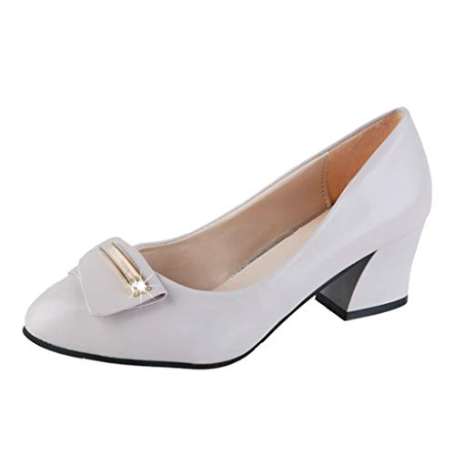 OrchidAmor Women's Ladies Fashion Metal Pointed Toe Square Heel Single Office Shoes Beige