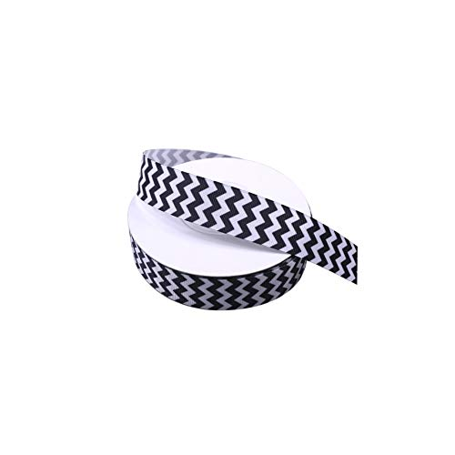 Black and White Chevron Swirls Waves Grosgrain Ribbon 1 Inch Wide 25 Yards Double Face Premium Finely Woven Fabric Ribbon 5Rolls 5 Yards/Roll Total Ribbon for Presents Crafts Sewing