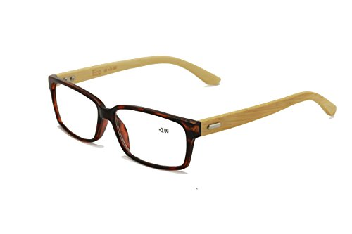 Vision World Genuine Bamboo Rectangular Reading Glasses Men Women Readers (Tortoise 1.5 x)