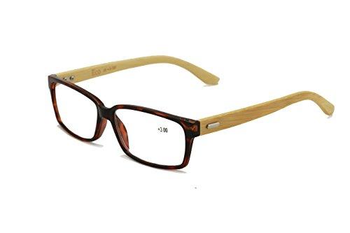 Vision World Genuine Bamboo Rectangular Reading Glasses Men Women Readers (Tortoise, 1.5 - Glasses Reading Rx Men Nerd