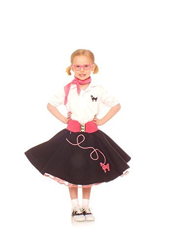 Hip Hop 50s Shop 7 Piece Child Poodle Skirt Outfit, Size 6 Black w/ Pink (6 Piece Costume)