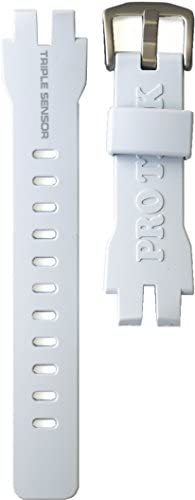 [カシオ]CASIO PRG-300, PRW-6000 用 バンド(ベルト)※白色 美錠[シルバー] [時計]