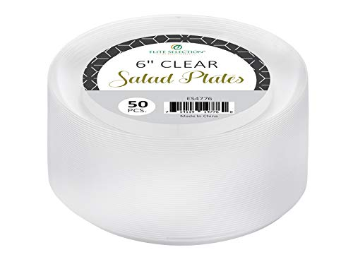 Elite selection 6 Inch Salad / Dessert Disposable Clear Hard Party Plastic Plates 50 -