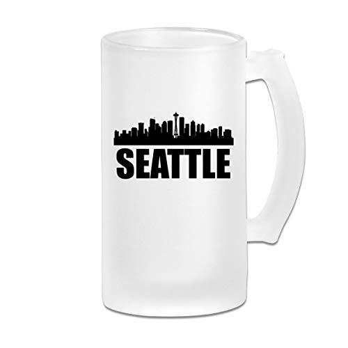 Negi Seattle City 16 Oz Frosted Glass Stein Wine Beer Mug Wedding Gift