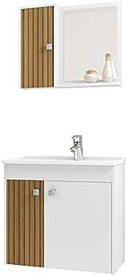 Gabinete para Banheiro com Cuba e Espelho Munique Móveis Bechara Branco Ripado