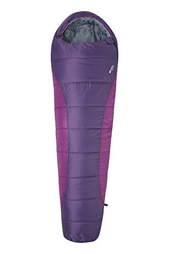 Mountain Warehouse Summit 250 Sleeping Bag - Mummy Shaped Camping Bag Berry Right Handed Zip]()