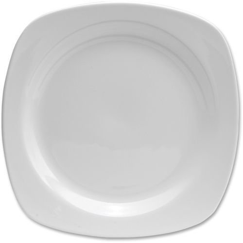 Office Settings OSICTS2 Chef's Table Collection Fine Porcelain Soft Square Salad Plates, Rounded Corners, All-White