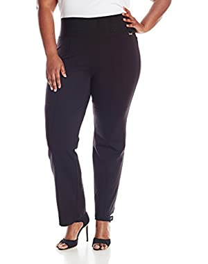 Calvin Klein Women's Plus-Size Power Stretch Wide Waist Straight Pant