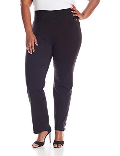 Calvin Klein Women's Plus-Size Power Stretch Wide Waist Straight Pant, Black, 3X
