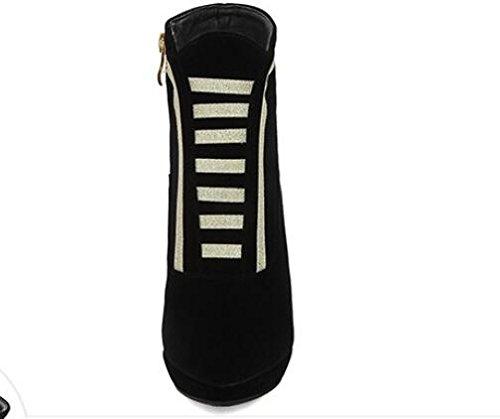 Otoño de mujer y ante de invierno con botas de punta con alta - botas de tacón botas cremallera lateral Martin novia zapatos novia zapatos black