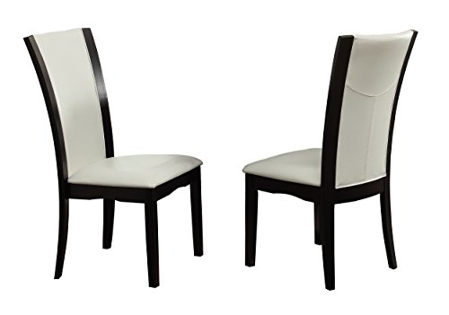2 Bicast (Homelegance Daisy Modern Dining Chairs Bi-Cast Vinyl Cover (Set of 2), White)