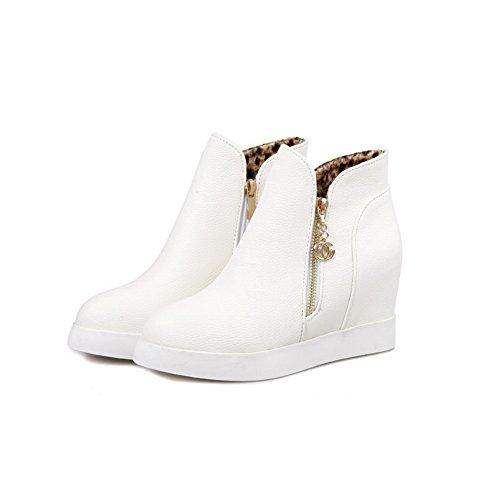 White Inside Ladies BalaMasa Imitated Leather Metalornament Boots Heighten Zipper d8dwqtZ