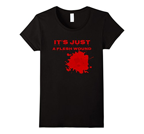 [Womens It's Just a Flesh Wound Bloody Bites t-shirt Halloween shirt XL Black] (Just One Bite Female Costumes)