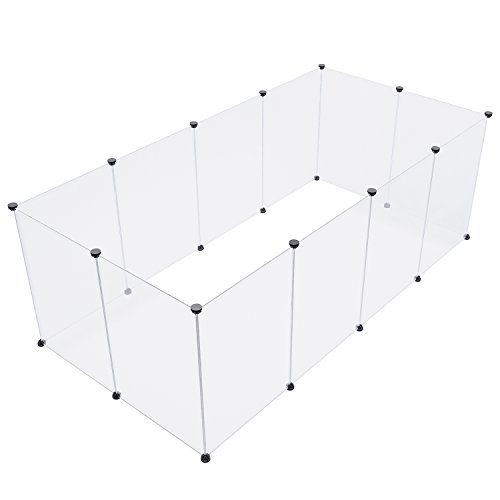 Pet Playpen Portable Animal Crate - SUKI&SAMI Transparent Plastic Cage, Indoor Exercise Fence for Guinea Pig, Rabbits,ferrets, Small Animal, Black 12 (Panel Small Animal)