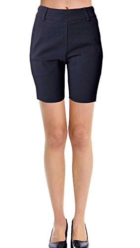 Trouser Style Shorts - VIV Collection New Women's Straight Fit Trouser Short Pants (Small, Navy)