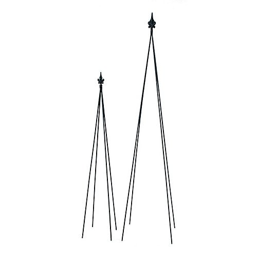 Achla Designs FT-20 Fleur-De-Lis, 58-in Wrought Iron Garden Stake Trellis, H, Black by Achla