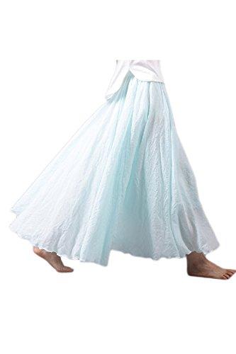 Boho Linea Una Cintura Lightblue Yacun Falda Elastico Playa Mujeres En Larga De La Bq0pFx