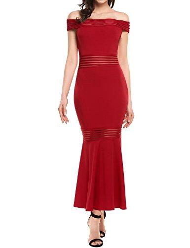 Red Fabulous Formal Evening Dress - Beyove Women's Mermaid Dress Off Shoulder Bodycon Maxi Long Evening Dress (Red, Large)